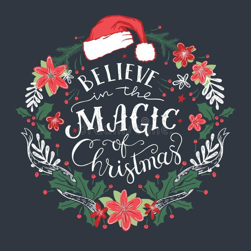 Credi nella magia della corona di Natale illustrazione vettoriale