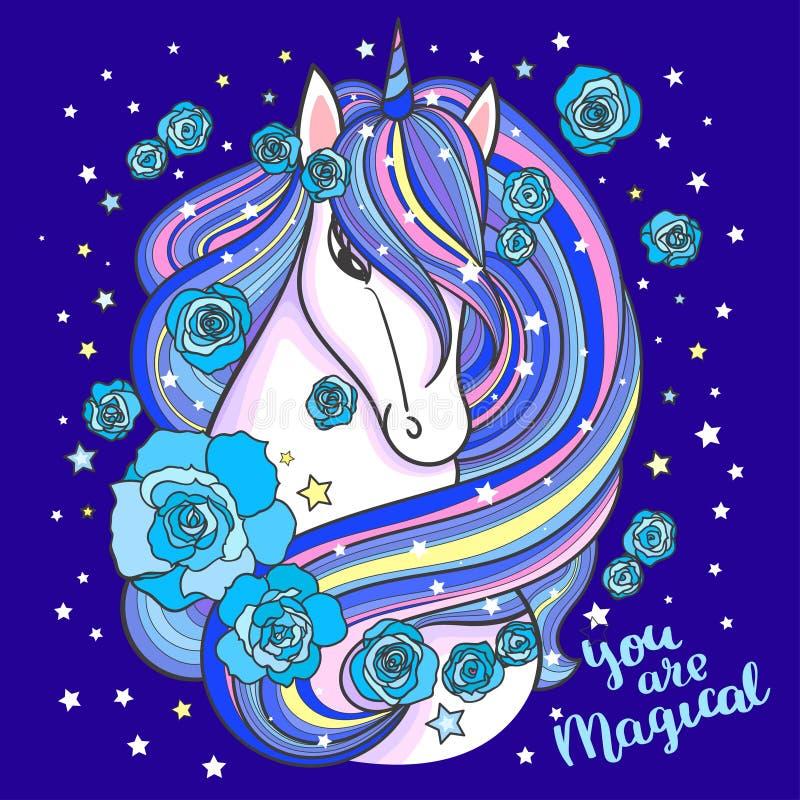 Credi nella magia Un bello, unicorno dell'arcobaleno con una rosa Illustrazione di vettore per la vostra acqua dolce di design illustrazione di stock
