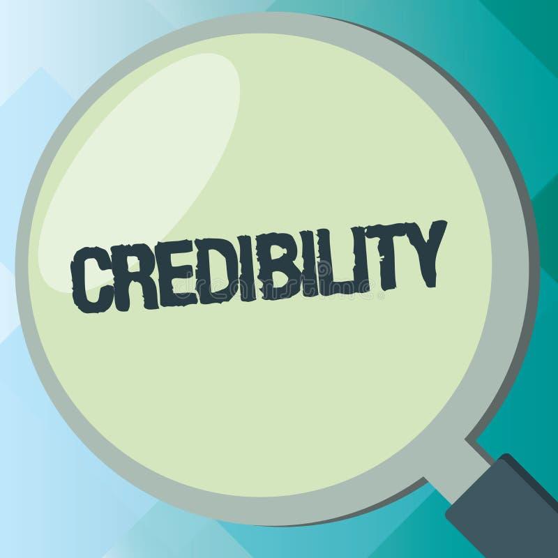 Credibilità del testo della scrittura Qualità di significato di concetto di essere credibile di fiducia in modo convincente e cre illustrazione vettoriale
