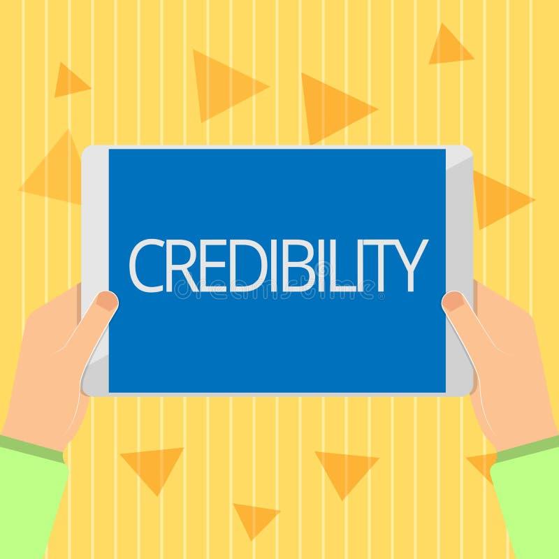 Credibilità del testo della scrittura Qualità di significato di concetto di essere credibile di fiducia in modo convincente e cre illustrazione di stock