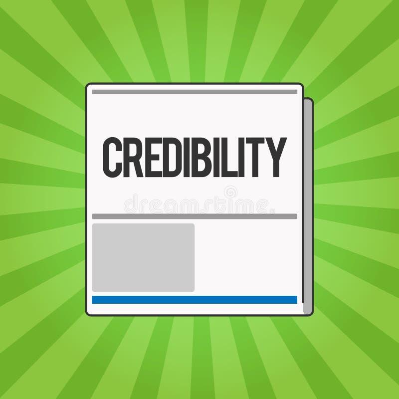 Credibilità di scrittura del testo della scrittura Qualità di significato di concetto di essere credibile di fiducia in modo conv illustrazione di stock