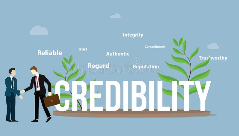 Credibility business personal concept with big text and some thing spread around the objects - vector. Illustration stock illustration