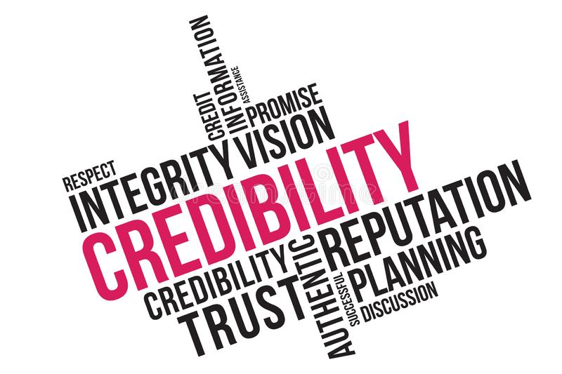 Credibility word cloud collage, business concept background. credibility, reputation and trust concept.  stock illustration