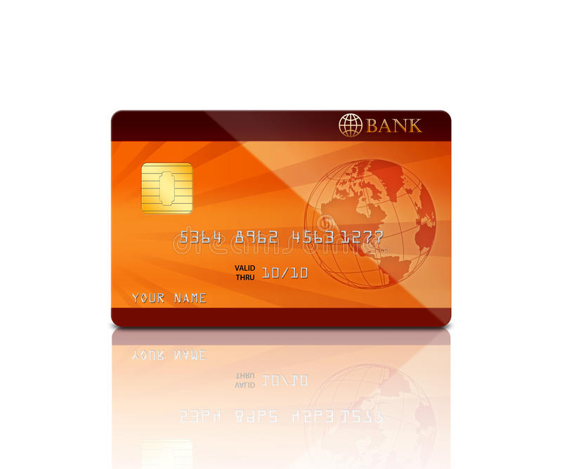 Credit card. Realistic credit card with reflection, isolated on a white background
