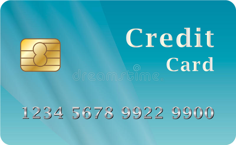 Credit card. In dark blue tones with number vector illustration