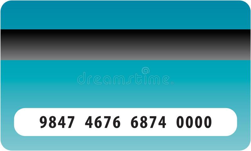 Credit card. In dark blue tones with number and back band detail stock illustration