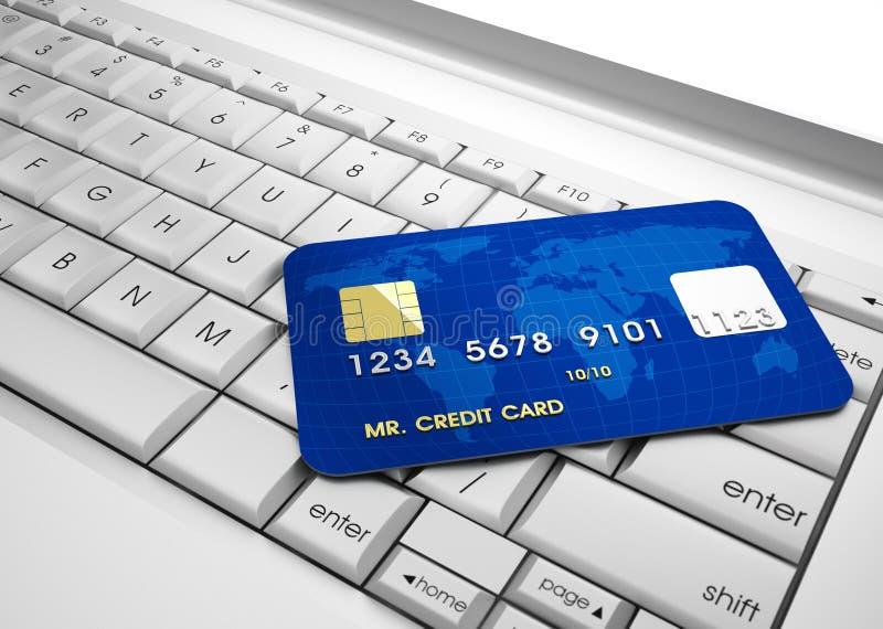 Credit card. 3d illustration of conceptual credit card over laptop keyboard vector illustration