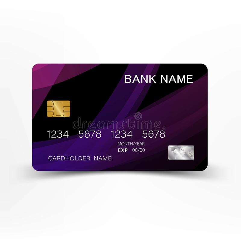 Modern credit card template design. With inspiration from the abstract. Purple and black color on the white background. royalty free illustration