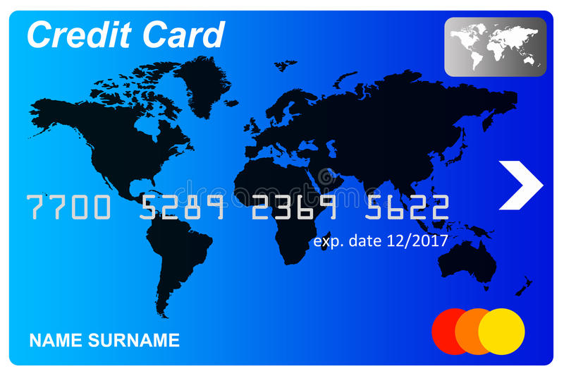 Credit card. Blue credit card with card number, expiry date and name royalty free illustration