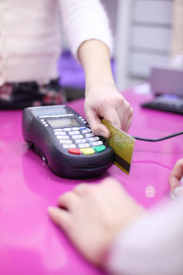 Credit card. Sale in shop