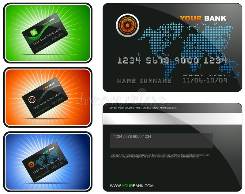 Credit Card. An illustration of a credit card, with several variants provided