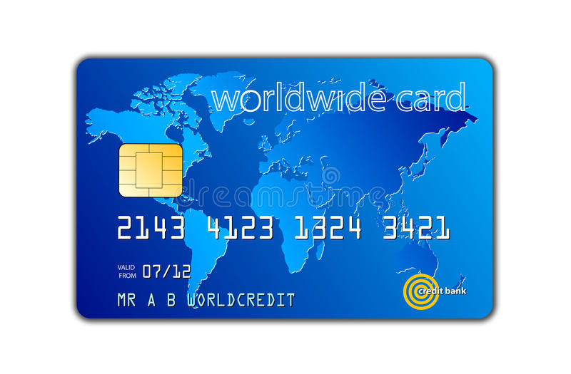 Credit card. An image for the concept of world wide e credit exchange. The picture shows a worldwide credit bank card with a chip inserted with a drop shadow on
