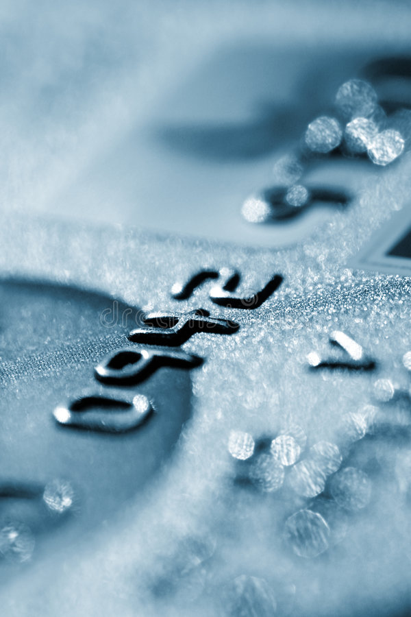 Credit card. Blue credit card background, digits closeup royalty free stock images