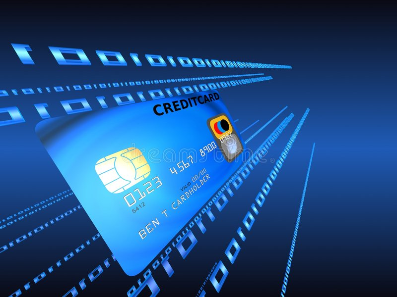 Credit card. 3d rendered illustration of a blue credit card in the data stream stock illustration