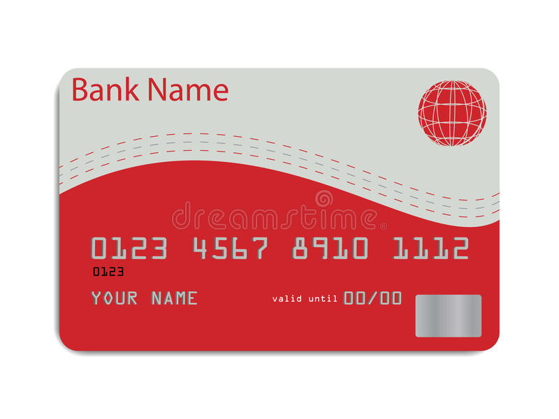 Credit card. Vector of a styled credit card in red and silver tones
