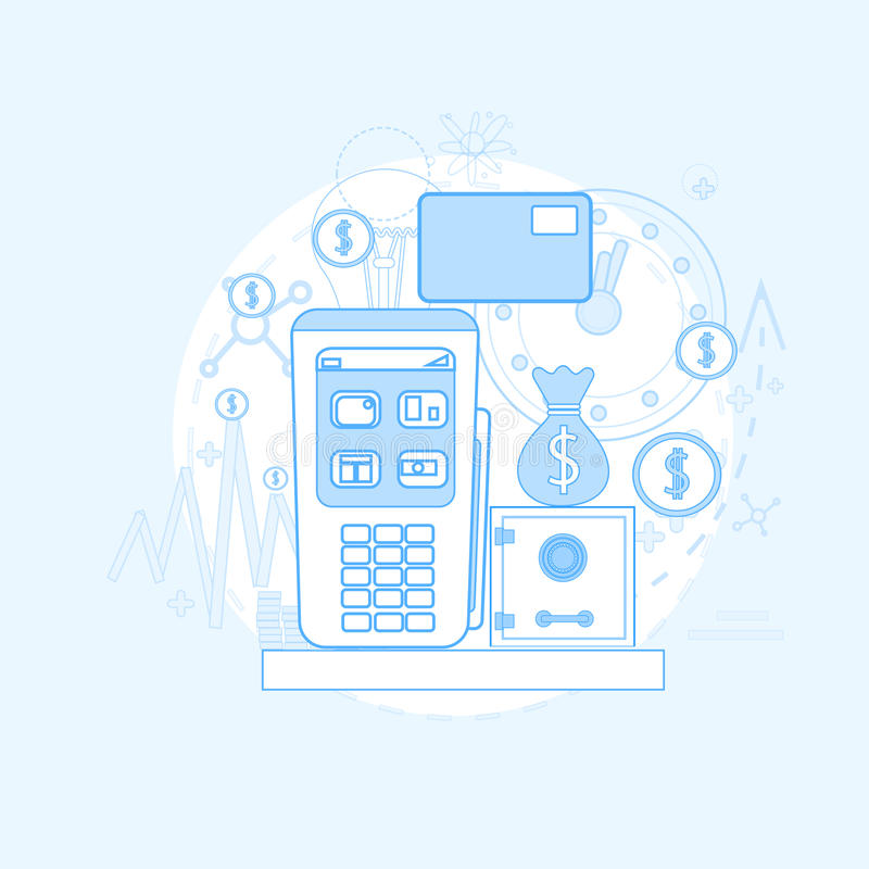 Credit Card Banking Nfc Terminal Checkout. Vector Illustration royalty free illustration
