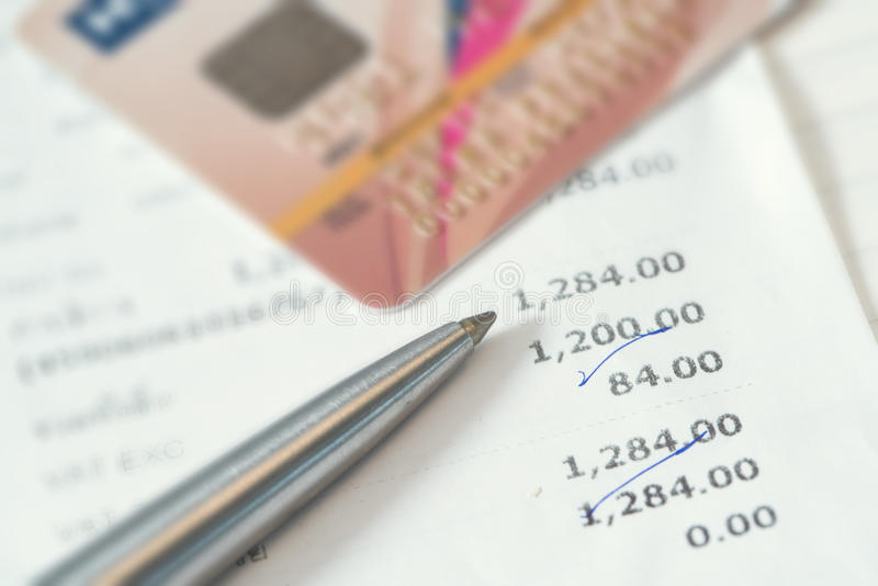 Credit card charges. 1 2 3 stock images