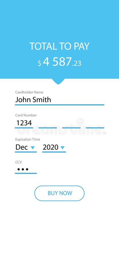 Credit Card checkout form for mobile application. User interface concept vector illustration