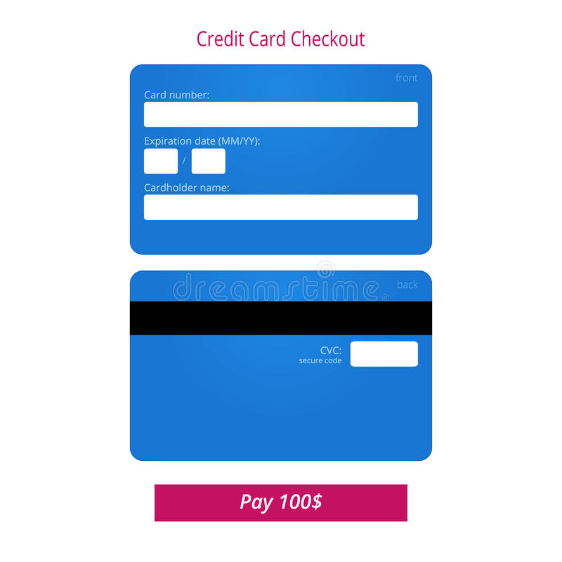 Credit card checkout form and submit button. Vector EPS 10 royalty free illustration