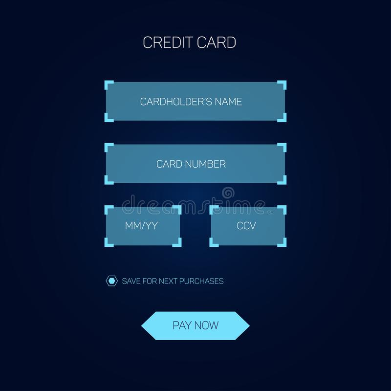 Credit card checkout web form head-up display style, HUD interface. Credit card checkout web form in head-up display style, HUD interface, vector eps 10 royalty free illustration