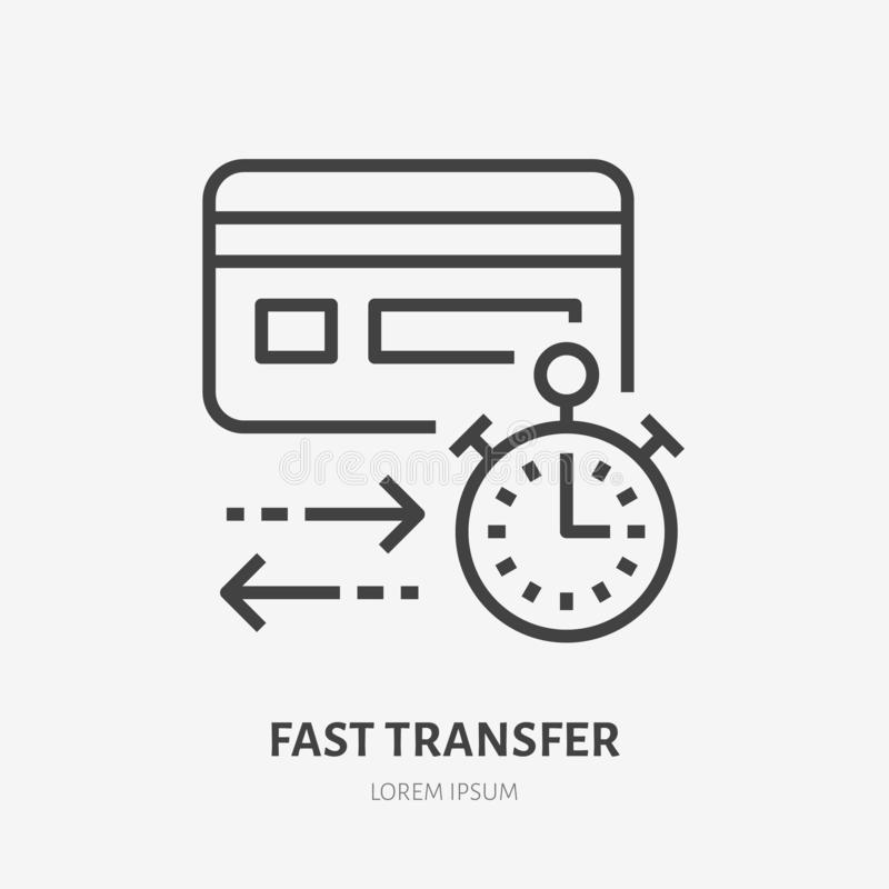 Credit card with clock flat line icon. Fast money transaction sign. Thin linear logo for financial services, quick cash royalty free illustration