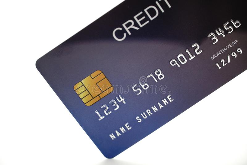 Credit card close up shot with selective focus for background. royalty free stock photography
