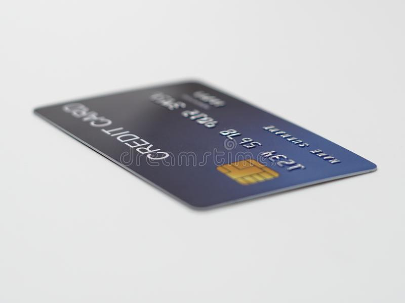 Credit card close up shot with selective focus for background. stock photography
