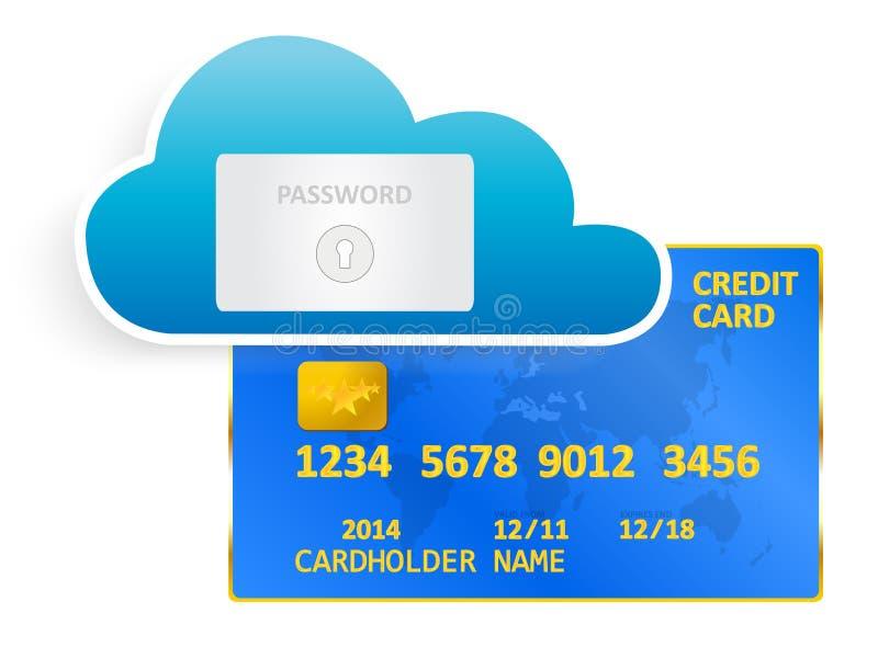 Credit Card Cloud Security stock illustration