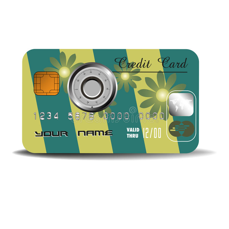 Download Credit Card With Combination Lock Stock Vector - Image: 26048511