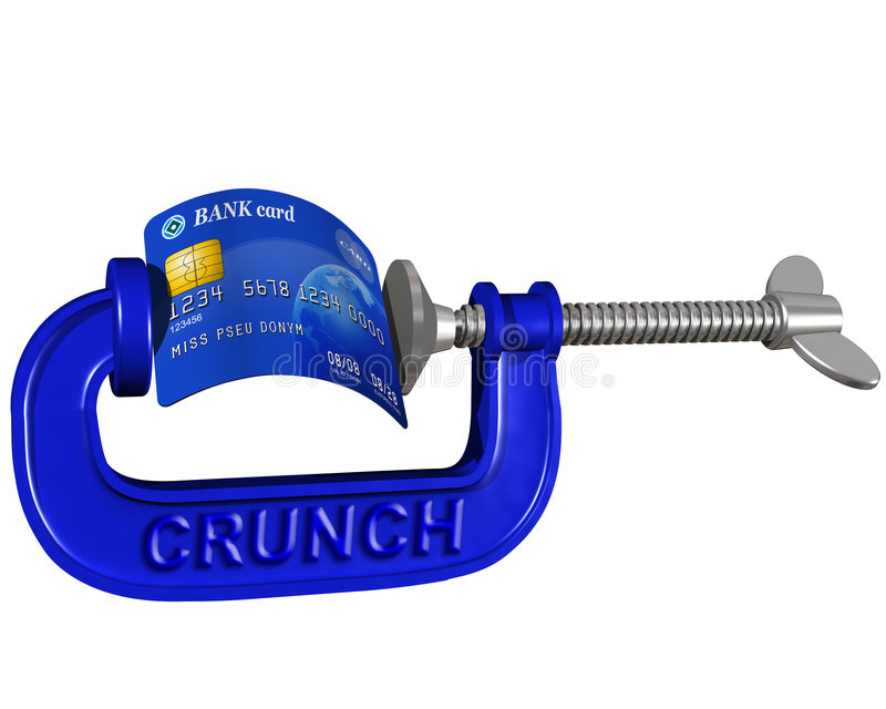 Credit card crunch. Isolated illustration of a credit card being crunched in a G clamp