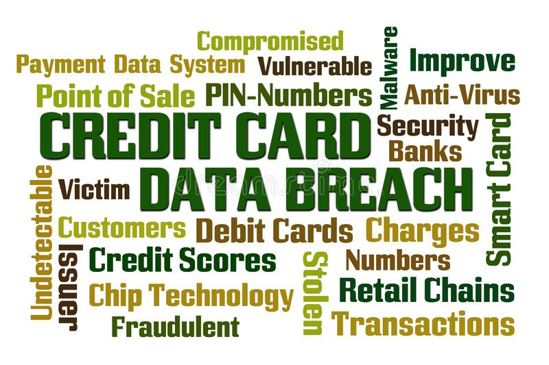 Credit Card Data Breach. Word cloud on white background royalty free illustration