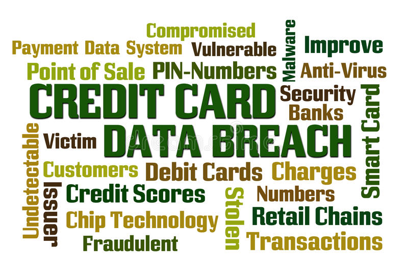 Credit Card Data Breach. Word cloud on white background stock illustration