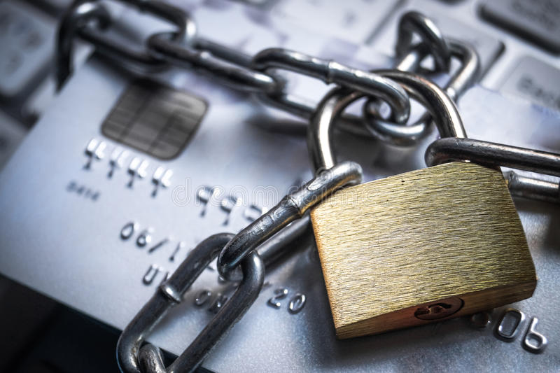 Credit card data protection. Chained credit cards - credit card data encryption protection concept stock images