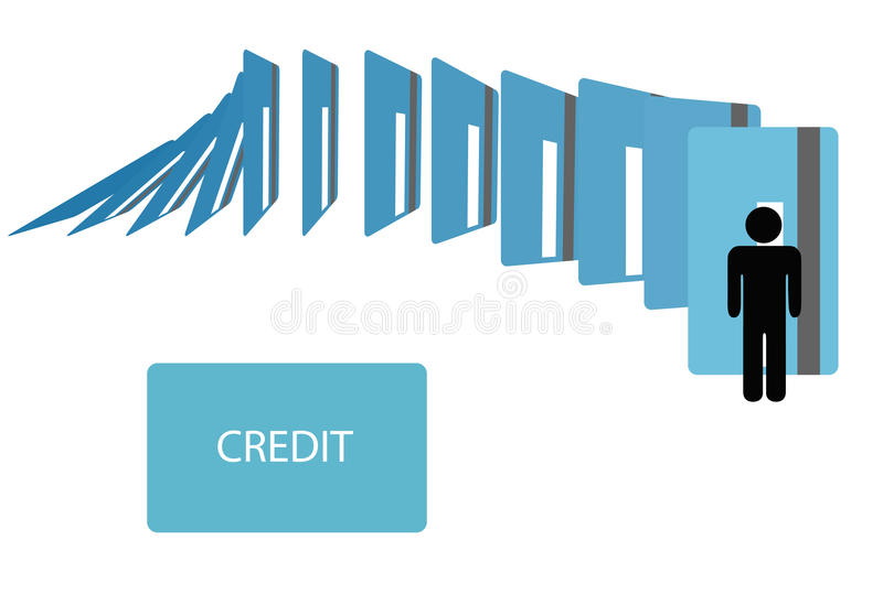 Credit card debt dominoes fall on symbol person. Credit card financial debt dominoes fall on a symbol person vector illustration