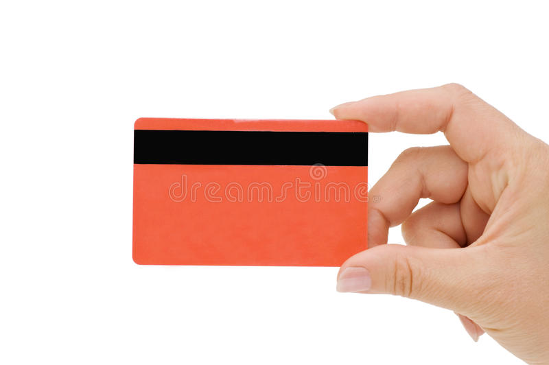 Credit card in a female hand royalty free stock photography