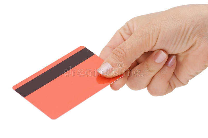 Credit card in a female hand royalty free stock image