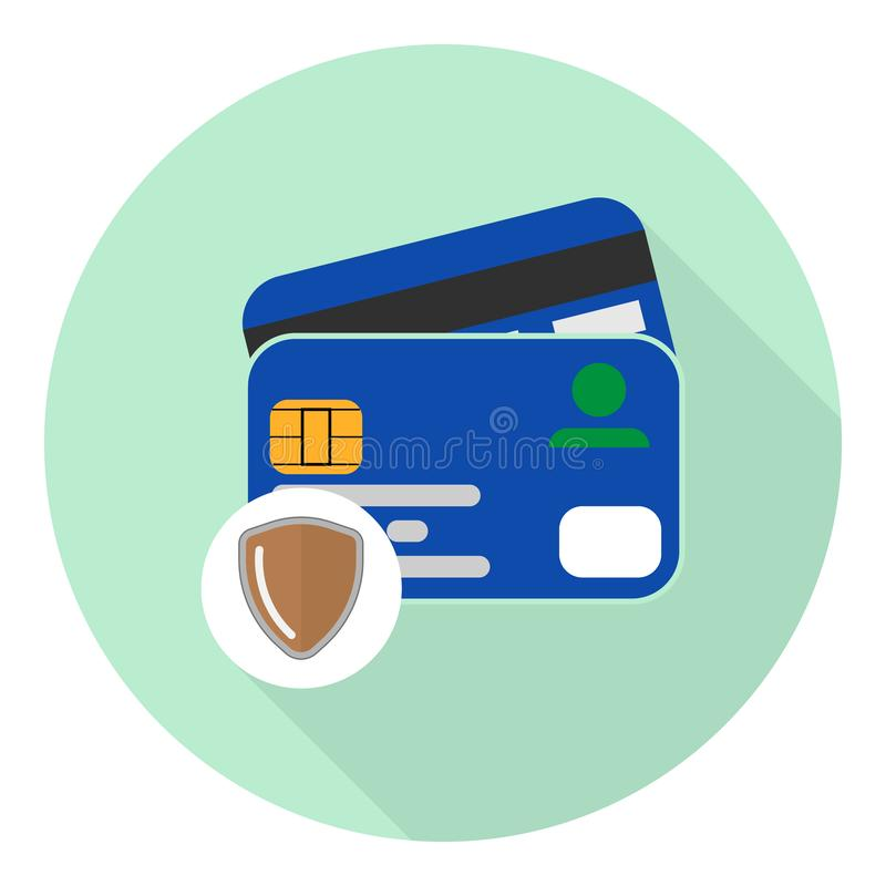 Credit card flat icon with protection symbol shield royalty free illustration
