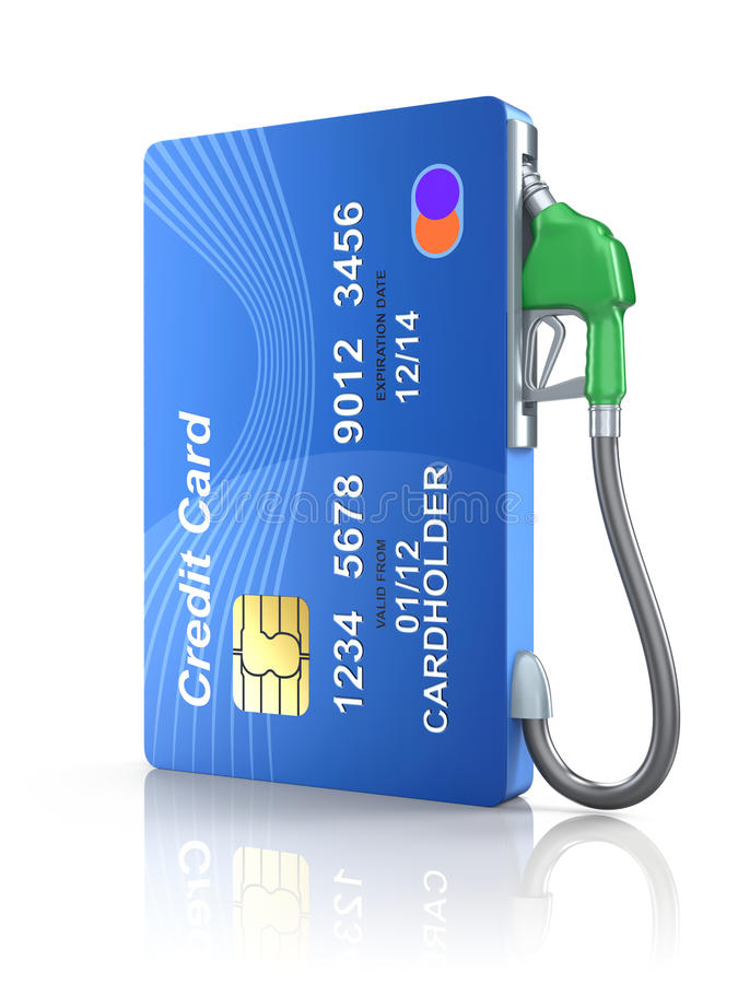 Credit card with gas nozzle. Over white reflective background