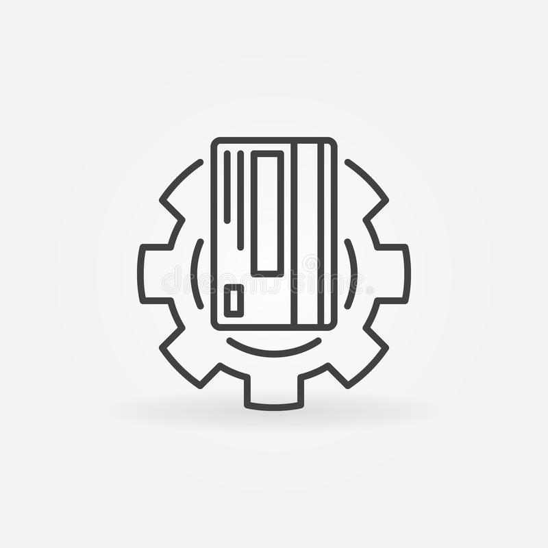 credit card gear vector outline icon repair symbol concept thin line style 140447488