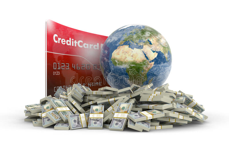 Credit Card with Globe and dollars (clipping path included) vector illustration