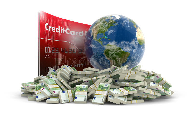 Credit Card with Globe and euro (clipping path included) royalty free illustration