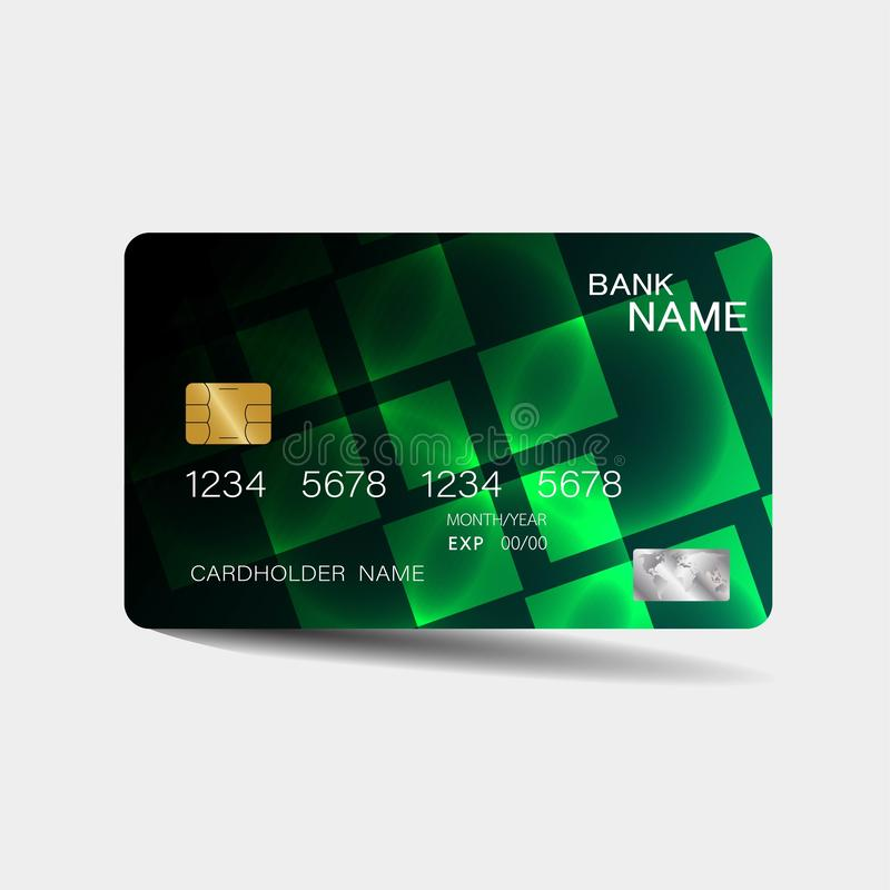 Credit card. With green elements design. And inspiration from abstract. On white background stock illustration