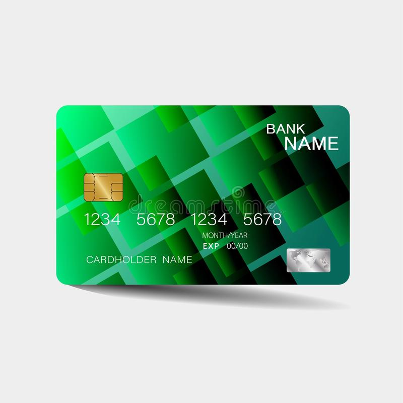 Credit card. With green elements design. And inspiration from abstract. On white background vector illustration