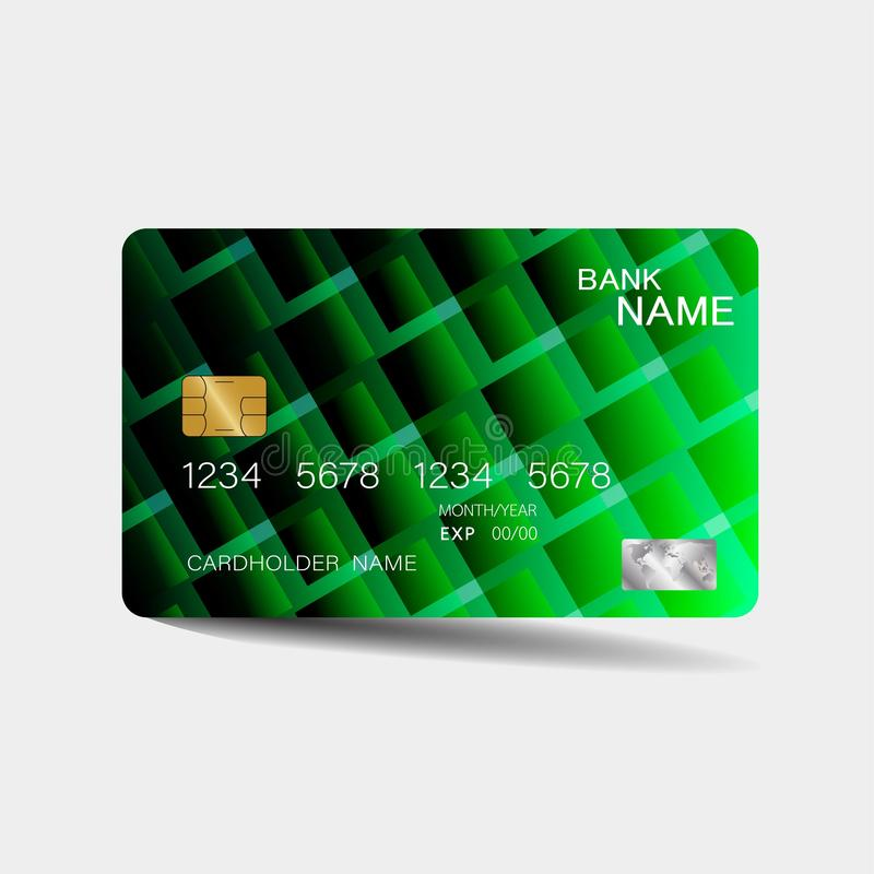 Credit card. With green elements design. And inspiration from abstract. On white background royalty free illustration