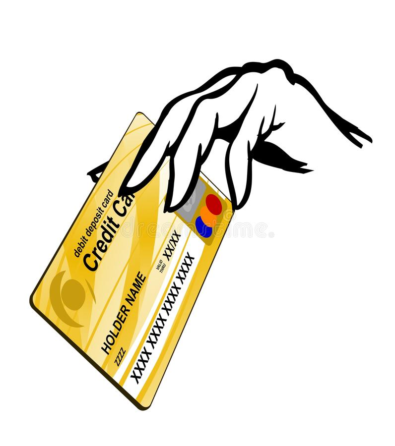 credit card in hand stock illustration