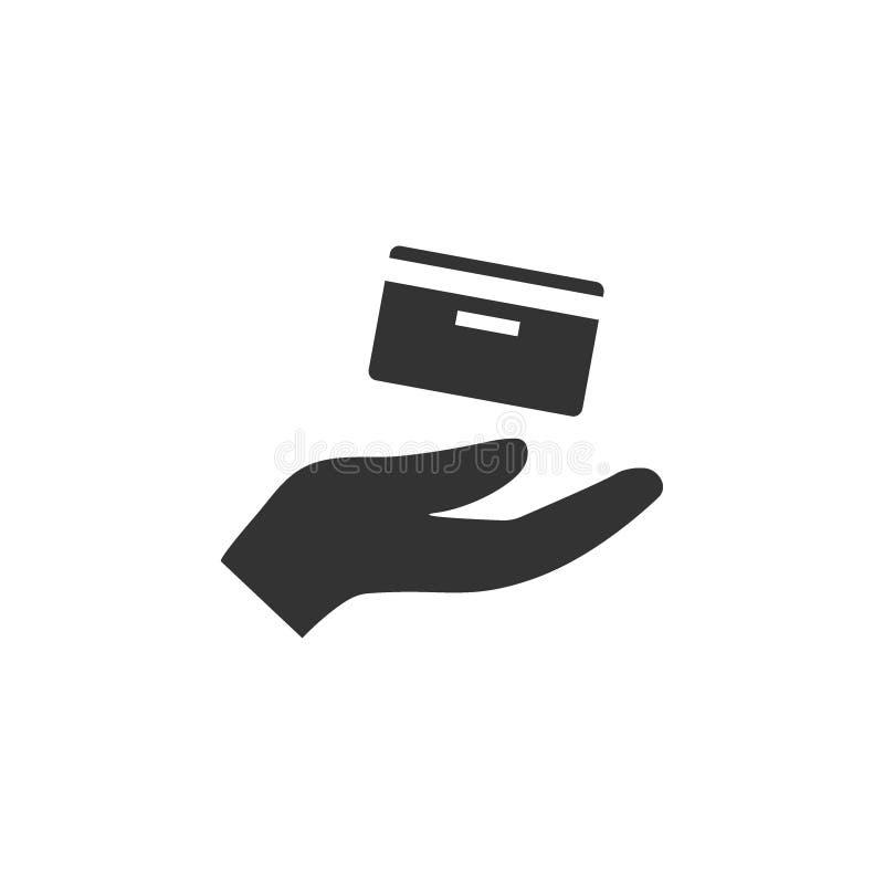 Credit card, hand icon. Vector illustration, flat design. Credit card, hand icon. Vector illustration flat royalty free illustration