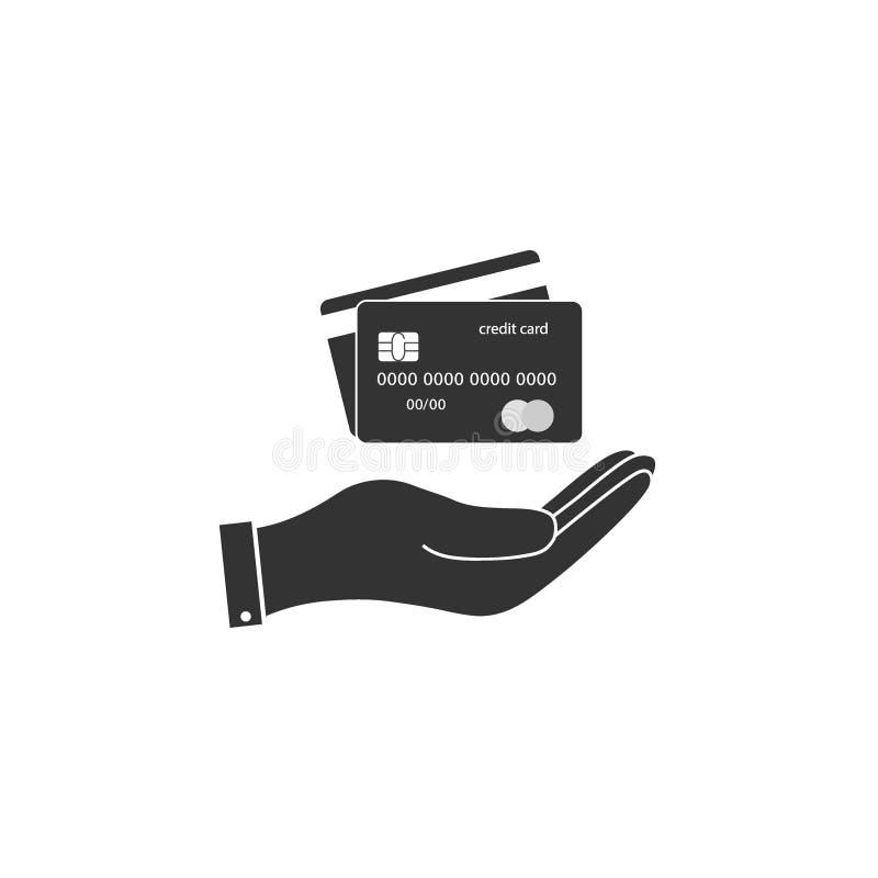 Credit card, hand icon. Vector illustration, flat design. Credit card, hand icon. Vector illustration flat vector illustration