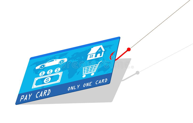 Credit card with hook stock illustration