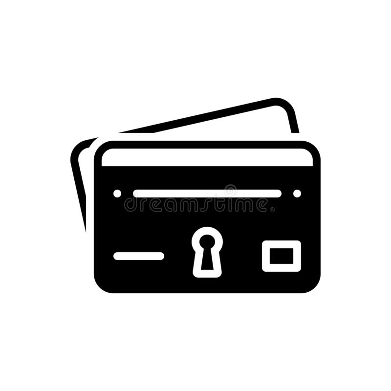 Black solid icon for Credit card, protection and fraud vector illustration