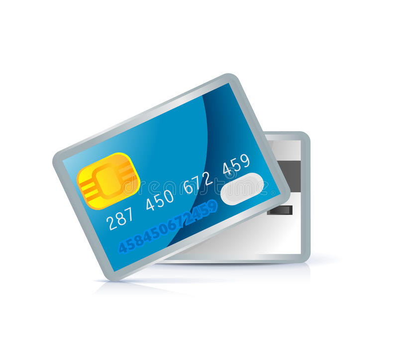 Credit card icon. Front and back side